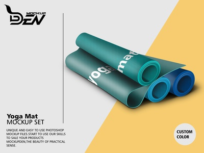 Multicolor Yoga Mat Mockup Pack | PSD Template