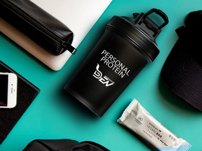 Free Black Protein Shaker Mockup | PSD Template