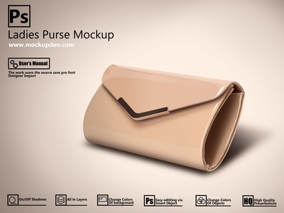 Free Shiny Ladies Purse Mockup | PSD Template Design