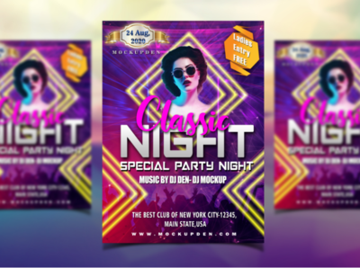 Free Night Party Flyer Mockup | PSD Template Design