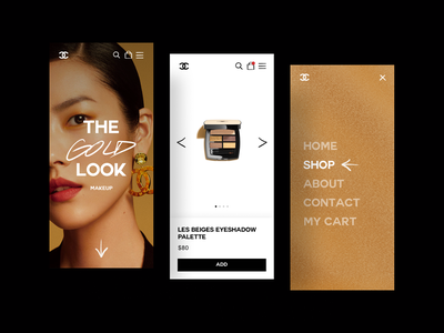Chanel gold cosmetics burberry gucci prada zara louis vuitton pdp checkout shopping cart ecommerce brand shop uxdesign ui ux typography makeup chanel mobile app