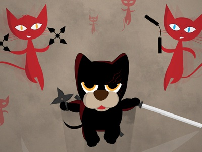 Ninja Puppy Versus The Shuriken Cats ninja puppy shuriken cats illustration character