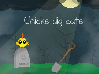 Chicks Dig Cats satire illustration dark funny chicks cats