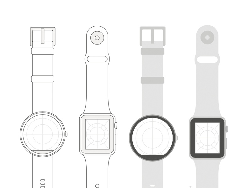 Moto360 & Apple Watch Template moto360 apple watch smartwatch wireframe sketch template