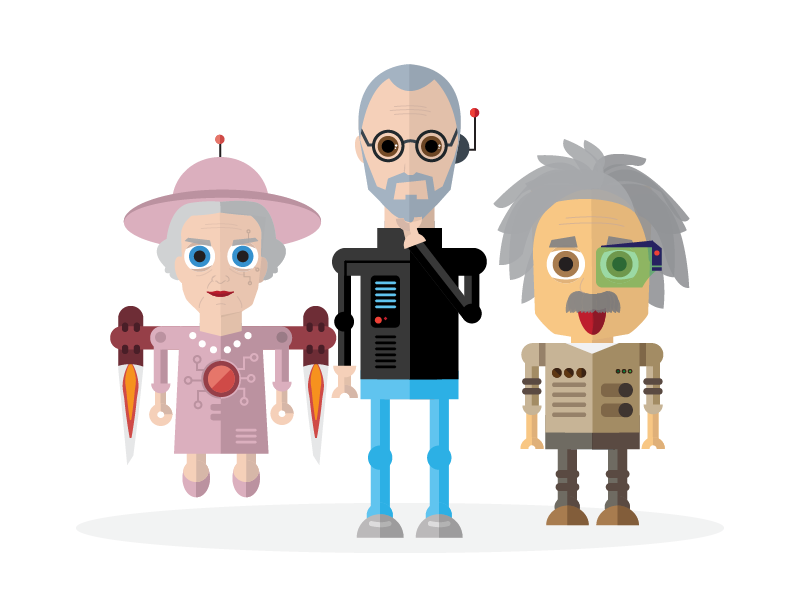 Celebrity Chatbot Illustrations albert einstein steve jobs queen elizabeth illustration chatbot
