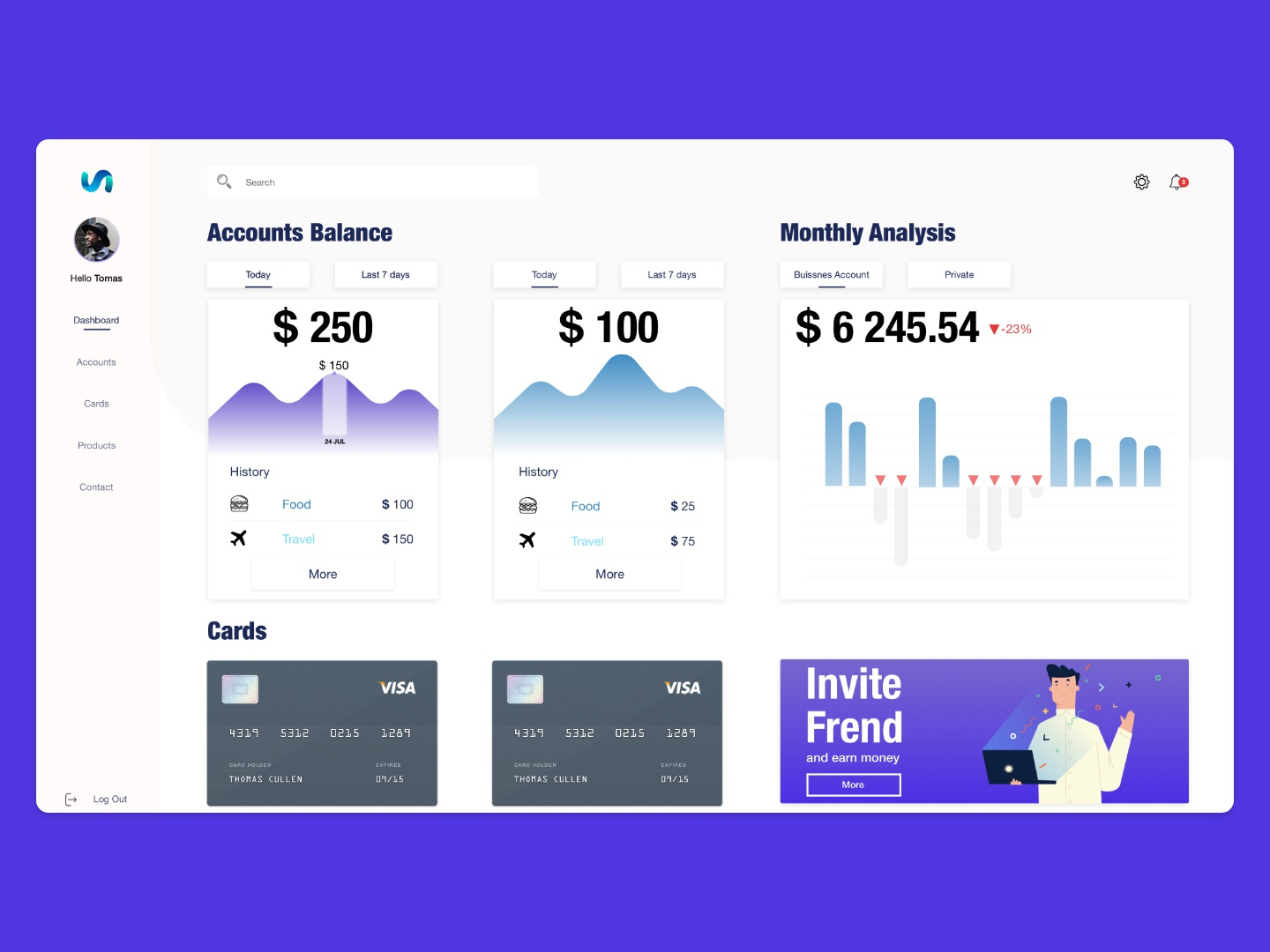 Simple bank app dashboard concept by Kamil Nowicz on Dribbble