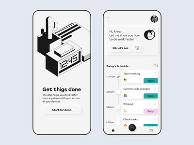To-do app todoapp black white blackandwhite todolist tasks task manager task list todo illustration figma uiux mobile
