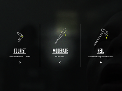 5 Minutes - Difficulty Selection zombie game ui ux flat modern dark button interface illustrator photoshop vector