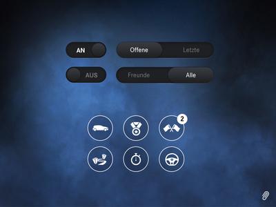 Mercedes-Benz Escape the Hall - UI Overview mercedes-benz car automotive ui ux interface vector button app game iphone