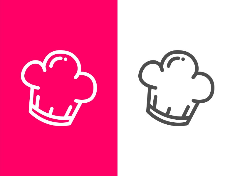 Chef Hat round minimal line hat chef cook cooking logo illustrator vector icon