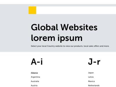Global Website Country Selector flat language select responsive desktop type web