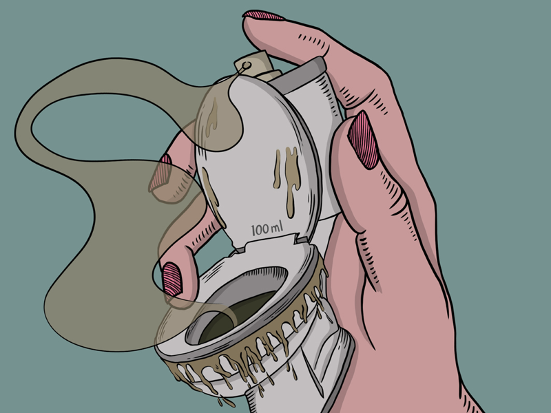 Eau De Toilet sketch graphics fragrance spray smell perfume toilet digital art minimal vector drawing art illustration