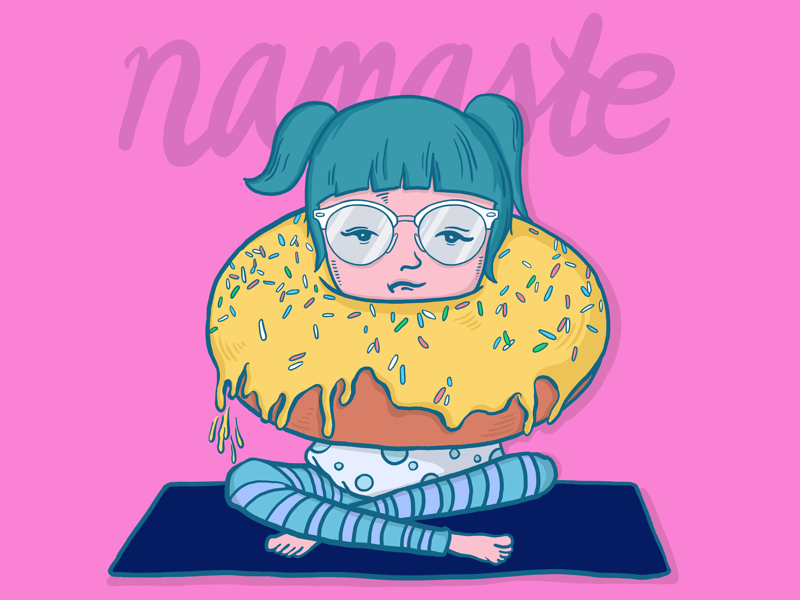 Donut Touch Me design namaste yoga girl donut graphics minimal sketch art draw drawing illustration