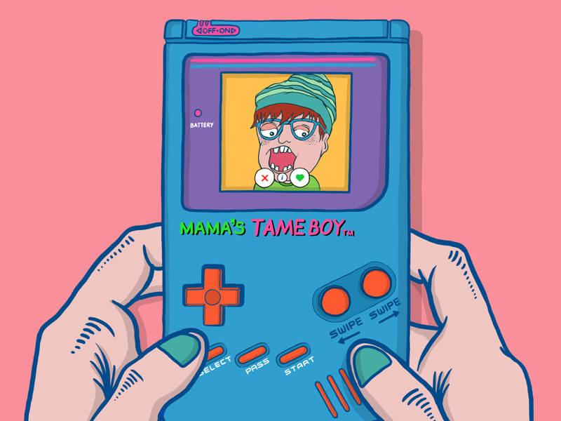 TAME BOY - A new retro dating console retro date dating app game boy graphics design art minimal drawing draw illustration