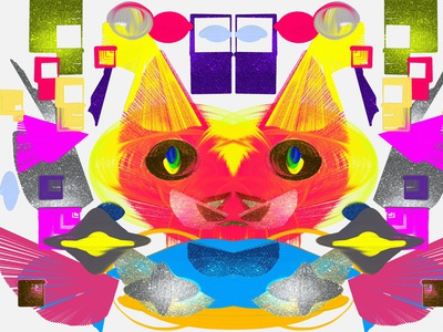 Abstract artwork hyper cat in sci fi world