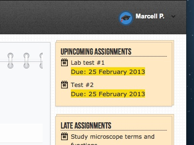 Assignments Dashboard semester planner design calendar sidebar
