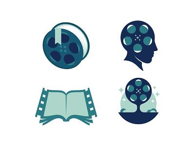 Film related logo ideas camera production studio scredeck logo book story reel cinema movie film