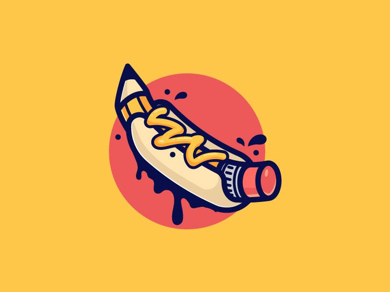 Hot Dog Pencil mustard draw design scredeck logo sketch hotdog hot-dog drawing pencil