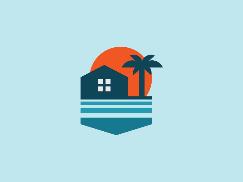 Island Vol1 hotel beach seaside holiday island illustration simple design scredeck logo