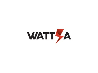 Wattia electricity electric watt voltage lightning branding typography simple scredeck logo