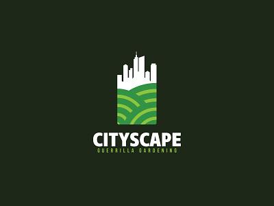 Cityscape skyscraper skyline suburban landscape eco greens park urban city scredeck logo