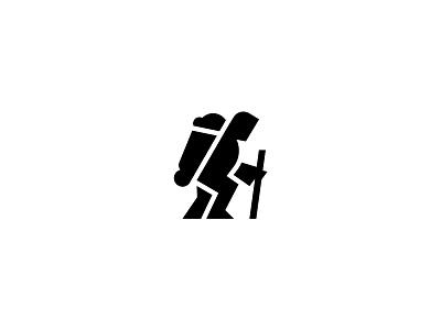 Traveler roadtrip icon journey climber sherpa man trip traveler simple scredeck logo