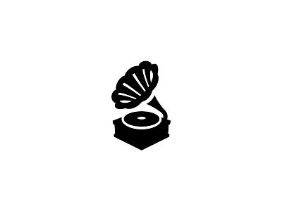 Phonograph phonograph gramophone record player record simple scredeck logo vinyl