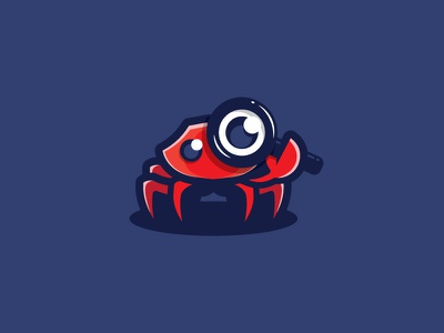 Craby crab magnifying glass search magnifier mascot nature illustration design animal scredeck logo