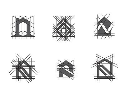 N house logo explorations geometric letter building home real estate house design simple scredeck logo