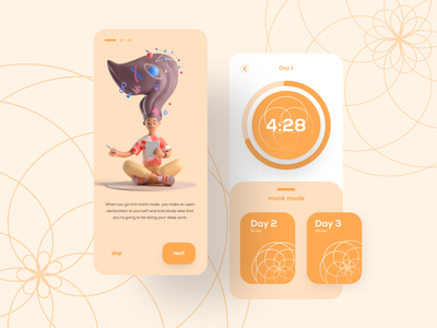 Monk Meditation | App UIUX app ui design app ui kit app ui ux ui design app uiux app ui orange appui app meditation illustration 3dillustration 3d vector adobexd uiux app design adobe xd uidesign dailyui