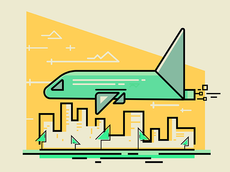 Flight styleframe whoosh colored geometric illustration vector design travel airplane flying