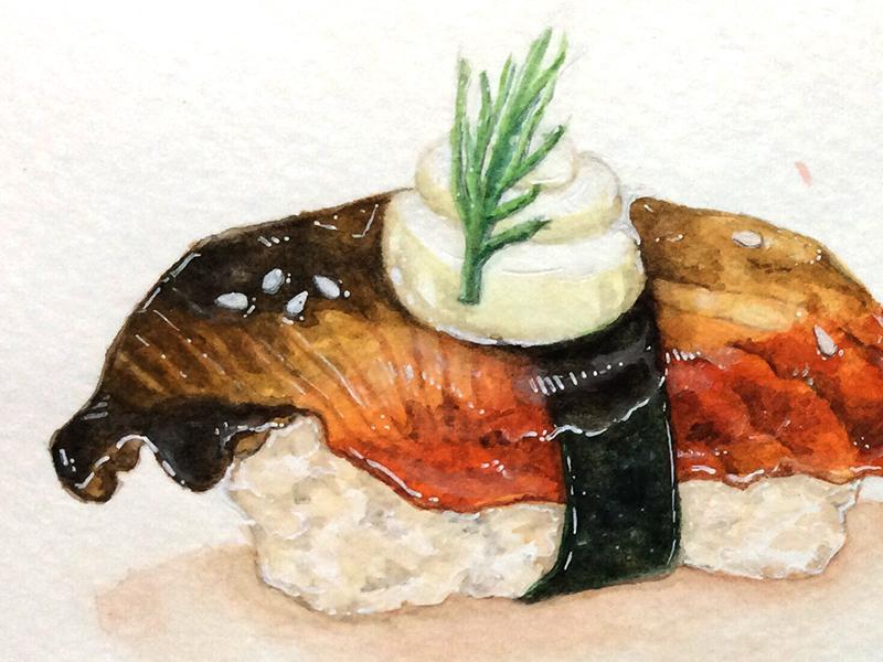 Unagi Sushi food japanese eel unagi sushi painting watercolor