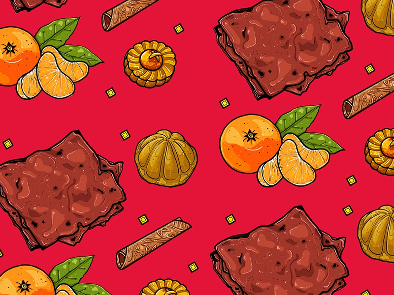 Illustrative Pattern: Chinese New Year Goodies goodies pattern illustration jerky oranges mandarin chinese-new-year food singapore