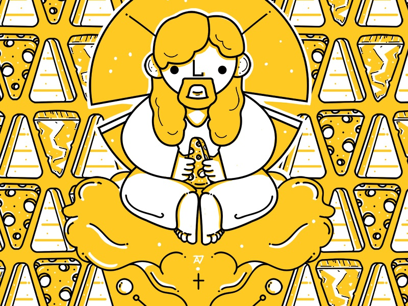 Illustrative Pattern: Almighty Cheesus Christ character fondue god christ cheesus cheese linework pattern illustrative illustration