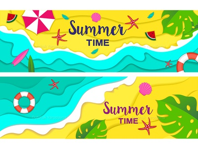 Summer, travel, holiday and beach icons set
