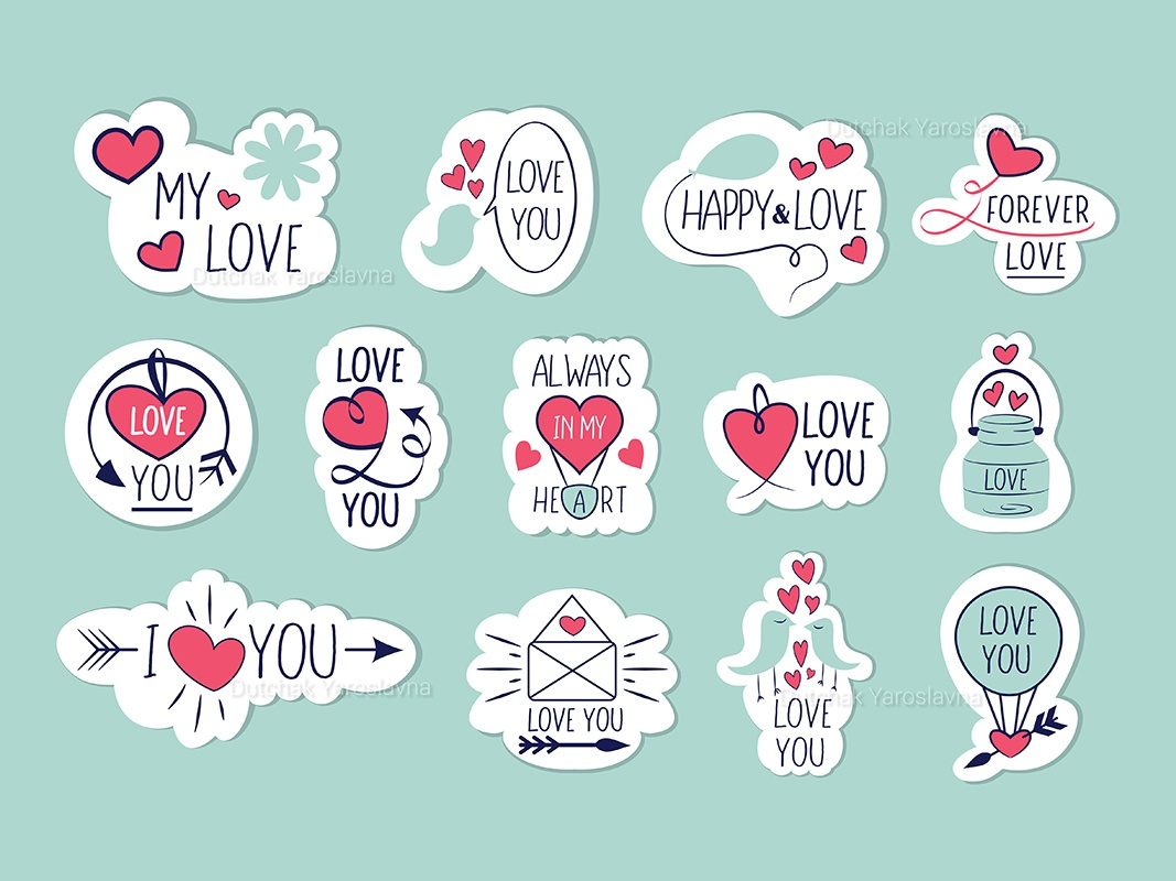 Stickers Happy Valentines Day lettering minimal flat art app vector logo identity illustrator illustration icon design style love happy valentines day valentine happy stickers sticker branding