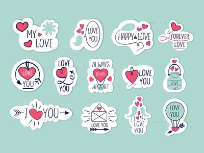 Stickers Happy Valentines Day