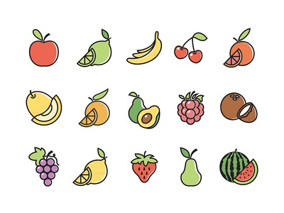Fruits Design Icon Set