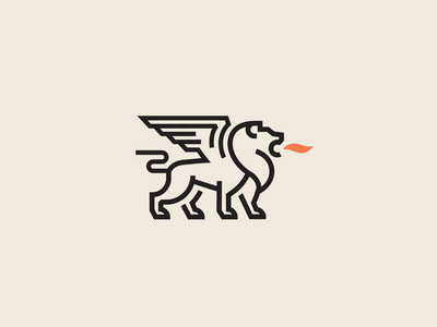 Winged Lion simple line creative minimalist design lion logo lion king animal wings fire lion