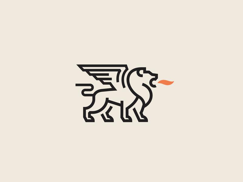 Winged Lion simple line creative minimalist design lion logo lion king animal wings fire lion