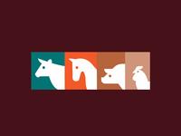 Animals colors chicken pig horse cow logo illustration minimalist creative