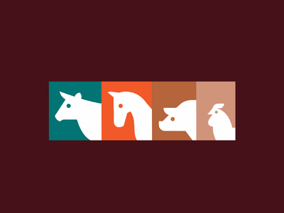 Animals colors chicken pig horse cow logo illustration minimalist creative
