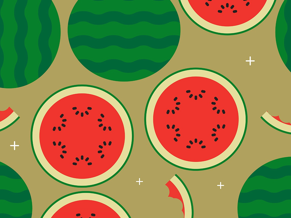 Watermelon Time Pattern pattern fruit food vector illustration