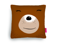 Bear-face brown cushion