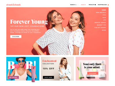 Beauty website header and highlights uiux fresh design clean ui beauty webdesign web