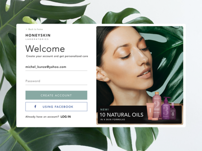 Skin care website log in page variants health uiux uiuxdesign botanic login beauty skincare