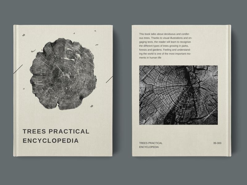 Trees Practical Encyclopedia poster baner typography creative covers book black wood encyclopedia tree minimal design branding