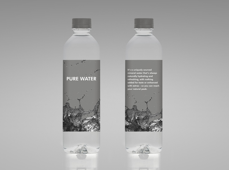Water Bottle logo watch bottl creative minimal future modern packing packing design black water design typography branding