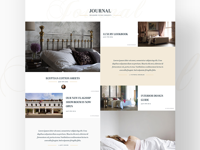 And So To Bed Journal wordpress template sleep luxury beds
