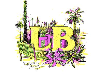 Laguna Beach handlettering hand drawn green yellow pink palm palm trees trees plants laguna los angeles beach laguna beach island treasure brushes art design vector illustration
